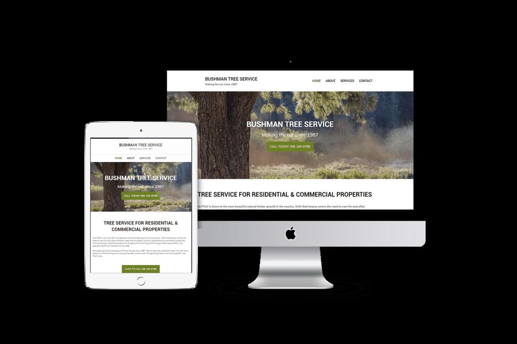 Bushman Tree Service website homepage design