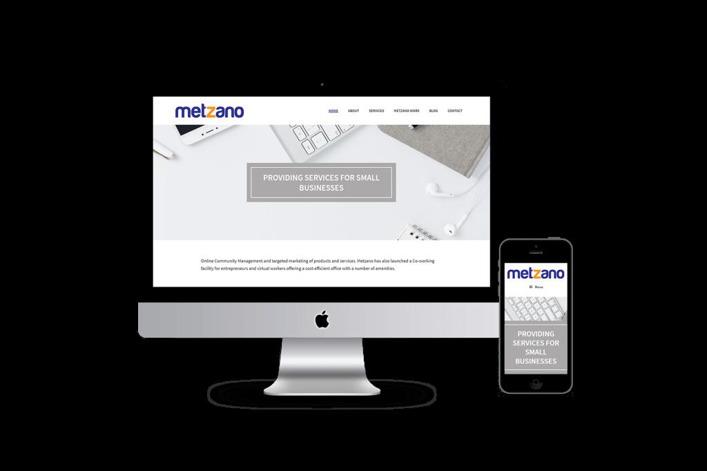 Metzano website homepage design