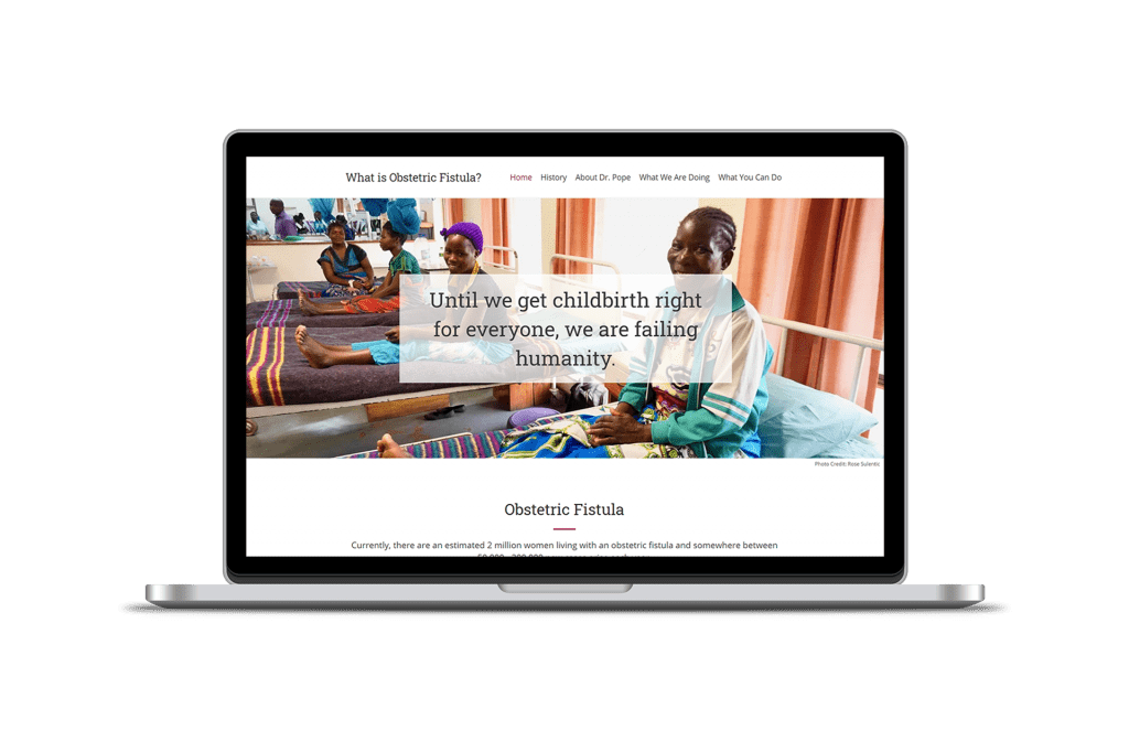 Obstetric Fistula homepage website design on laptop