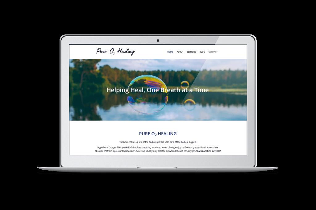 Pure O2 Healing website homepage design