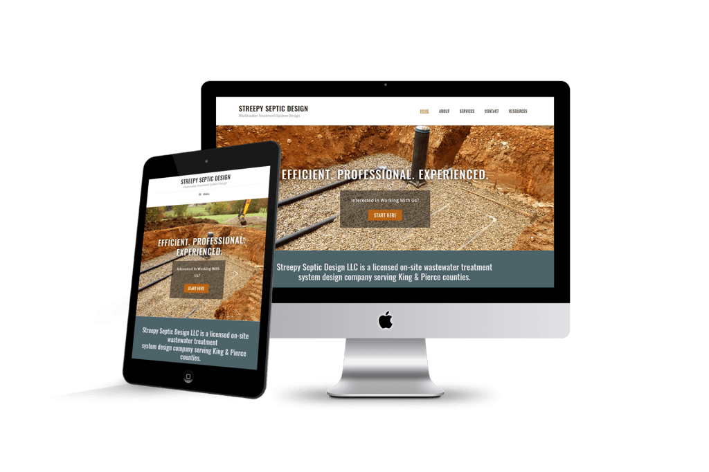 streepy septic design website page