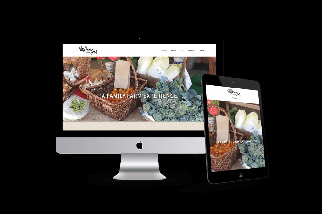 The Mason Jar Farm homepage design