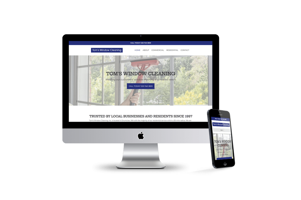 Toms Window Cleaning homepage design