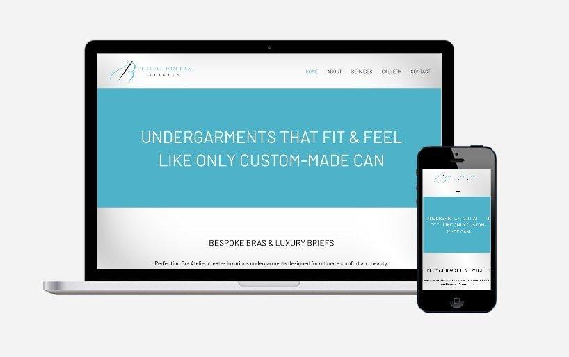 perfection bra homepage website design